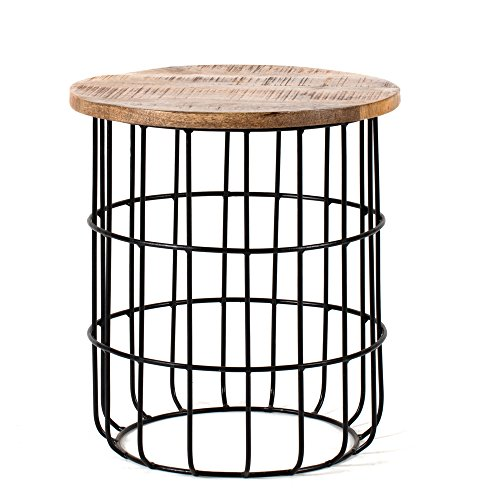 Madeleine Home Auxon Side End Table With Sturdy Metal Cage Base Natural Mango Wood Top With Distressed Finish Accent Nightstand for Living Room, Bedroom, Receiving Room, Balcony, Patio, Porch