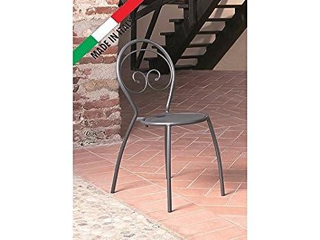 Sedie In Ferro Battuto Pieghevoli : Sedia impilabile in metallo ferro da esterno giardino terrazzo
