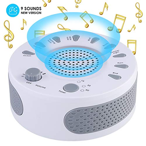 Sleep Therapy White Noise Sound Machine Polysomnography Device 9 Unique Natural Sounds and Timer Setting for Baby Adults Sleep Disorders Noise Cancelling Home Office Spa Yoga (White)]()