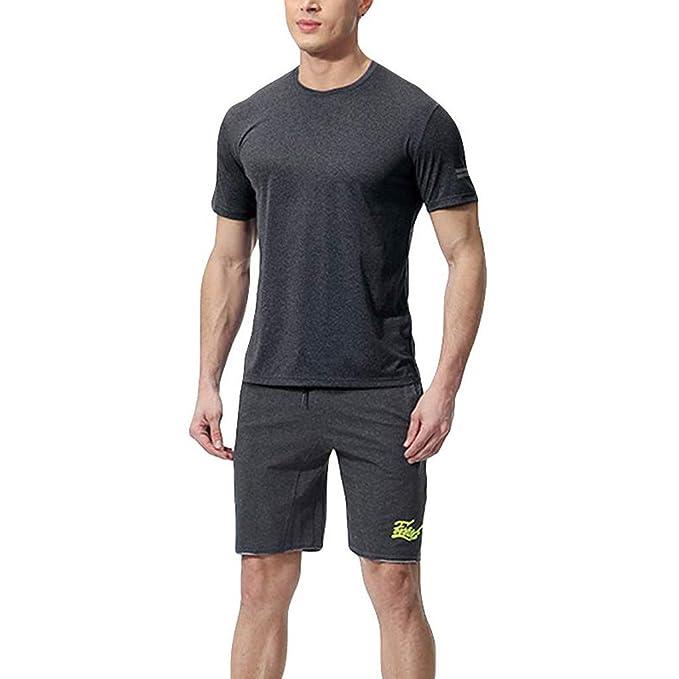 Beikoard_Traje Deportivo para Hombre=Manga Corta(T-Shirt)+Pantalones Cortos de Fitness/Apretado, Transpirable, Deportes_JT02(S-3XL) Tops Hoodies Sudaderas ...