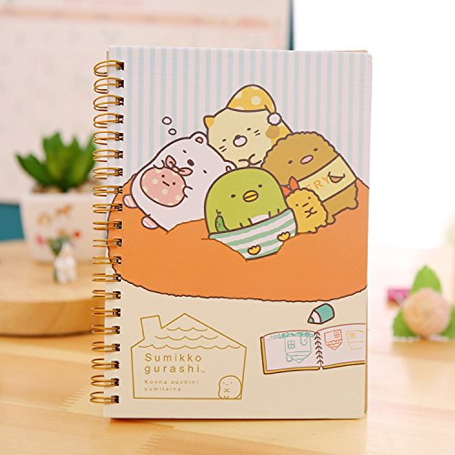 Labu Store 1PC Funny Cartoon Hard Cover Colored Page Coil Book Portable Pocket Notebook Cute Diary Notepad ()