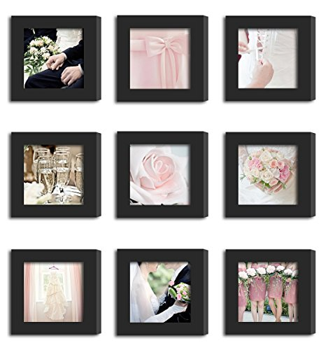 9Pcs 4x4 Real Glass Wood Frame Black Fit Family Image Pictures Photo (Window 3.6 x 3.6 inch ) Desktop Stand or Wall Hang Family Combine Square Married Bridesmaids Sisters Flower Ball Pink Deco (37-45)