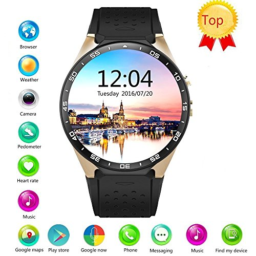 Efanr KW88 Round Bluetooth Smart Watch Unlocked Android 5.1 Wrist Phone Nano SIM 3G WIFI 2.0MP Camera Touchscreen Smartwatch Call Heart Rate Monitor Pedometer for Android Samsung IOS iPhone (Gold) by Efanr