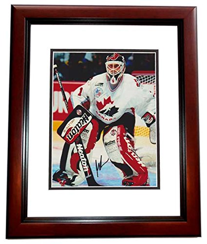 (Martin Brodeur Signed - Autographed TEAM CANADA 8x10 inch Photo - 2x Gold Medal Winner - New Jersey Devils MAHOGANY CUSTOM FRAME)