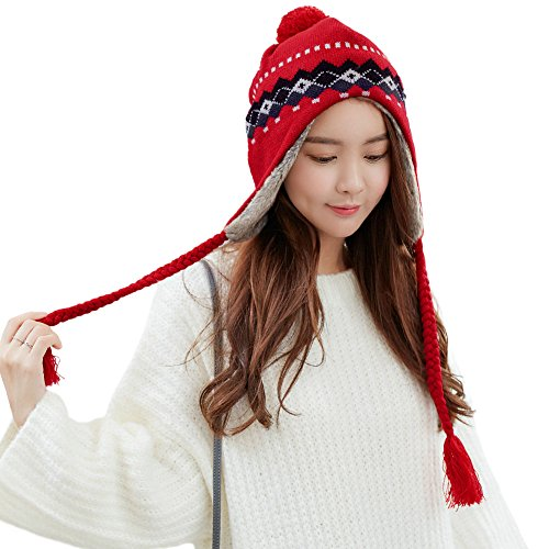Siggi Winter Wool Peruvian Hat Women Red Pom Beanie Earflap Hats Caps Fur Lining (Earflap Womens)