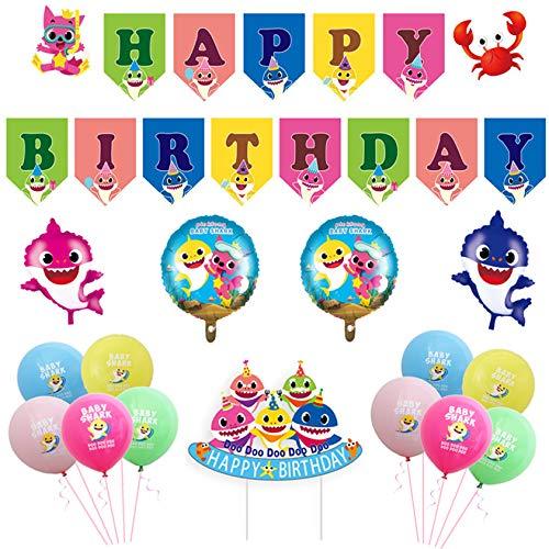 Baby Shark Party Supplies - Cute Shark Birthday Decorations - Balloons for Baby Shark Theme Birthday Party Decorations - Shark Party Supplies for Kids