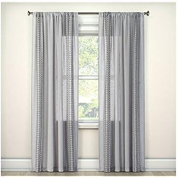 Stitched Edge Sheer Window Curtain Panel Gray 60x84