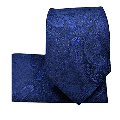 Oliver George Paisley Pattern Necktie Set-Navy Blue