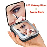 Rantizon Portable Power Bank Makeup Mirror LED Illuminated Mirror 1X/5X Magnification Two Side Small Folding Mirror 3500mAh Lithium Polymer Rechargeable for Phones, Tablets and Other USB Devices
