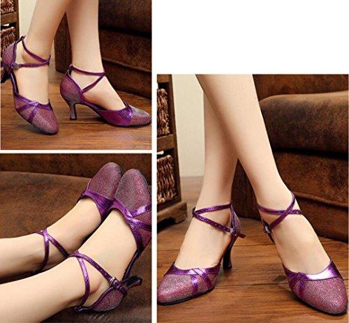 MUYII Chaussures De Danse Latine Chaussures Pour Adultes Adultes Avec Des Chaussures Antidérapantes Confortables Purple w5ziG0v