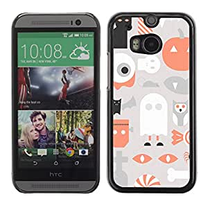 XYTE Slim Case Cover Backcover Frame Shell HTC One M8 // Halloween Minimalist Ghost Cat Pattern //