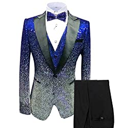 Men's Sequin Slim Fit Jacket Vest Pants