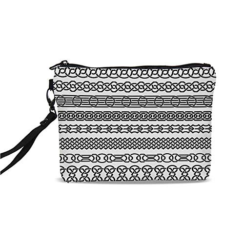 Irish Simple Cosmetic Bag,Vintage Borders in the Form of Celtic Classical Ornaments Horizontal Striped Pattern for Women,9