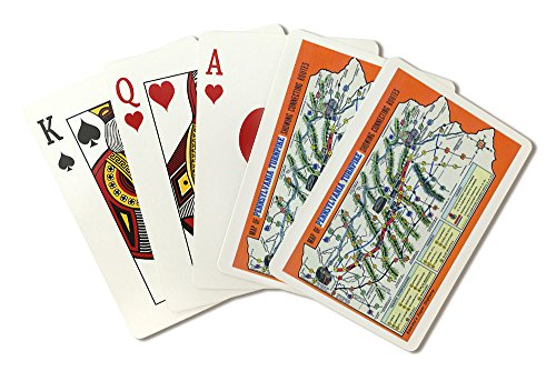 Pennsylvania - Map Postcard of the State Showing the Pennsylvania Turnpike (Playing Card Deck - 52 Card Poker Size with Jokers)