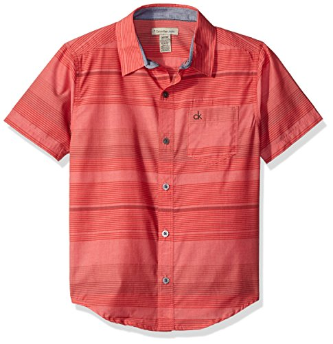 Calvin Klein Big Boys' Horizontal Bold Stripe Short Sleeve Shirt, Coral, M10/12 Bold Stripe Cotton Shirt