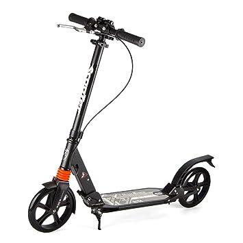 Patinetes de tres ruedas Pedal Ancho para Scooter para Adultos, Asas Ajustables con Empuñadura En T, Bicicleta Plegable De 2 Ruedas, No Eléctrico: ...