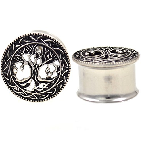 Pair of Ornate Tree Of Life Design Ear Plugs Tunnels Made w/Surgical Steel & Brass (3/4 Inch (19mm)) (Ear Design Plug)