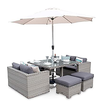 Versatility Deluxe Rattan Sofa Cube Furniture Set   Whitewash Grey