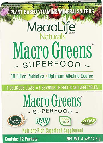 (NOT A CASE) Macro Greens Super Food Supplement 12 Packets