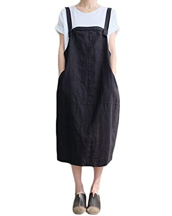 a9f6c8aec40 FLORHO Women Casual Spaghetti Strap Overalls Loose Jumper Dress with Side  Pocket Black S
