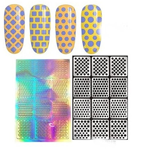 1 Sets DIY Stencil Nail Art Sticker Water Transfer Nails Wrap Paint Tattoos Stamping Plates Templates Tools Tips Kits Good-looking Popular Xmas Christmas Winter Stick Tool Vinyls Decals Kit, Type-11 ()