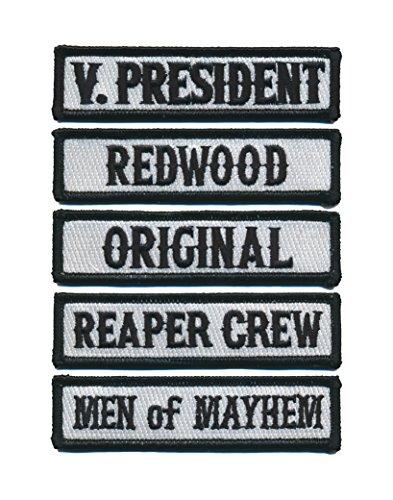 Outlaw Biker Front of Vest Jacket Officer Title [Black] 5 pcs Patches]()