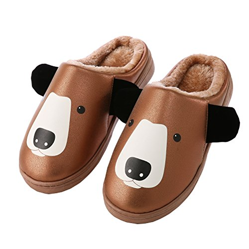 Cartoon PU leather family home slippers-Unisex winter warm plush boots shoes Coffee
