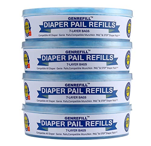 Diaper Genie Refill by GENREFILL, Compatible with Diaper Genie Pails, 100% Lock Smelling Supply 4 and 6 Months 1120 Count (4 Pack)