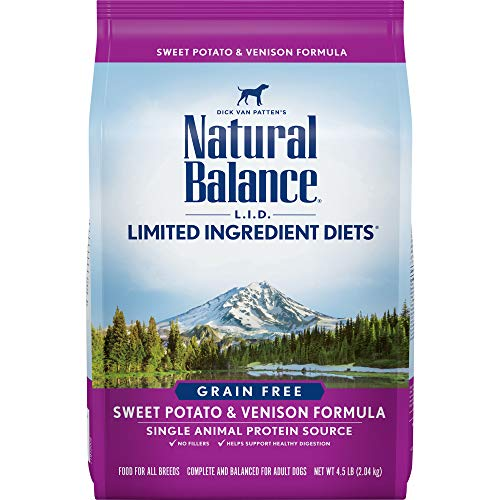 Natural Balance L.I.D. Limited Ingredient Diets Dry Dog Food, Grain Free, Sweet Potato & Venison Formula, 4.5-Pound (Low Protein Dog Food)