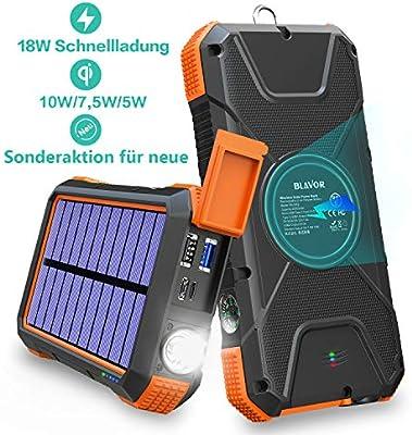 Banco de energía inalámbrico rápido,cargador solar 20000mAh,batería externa mejorada,energía de emergencia portátil con puertos entrada tipo C,brújula ...