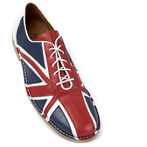 Delicious Junction Tommy rot, weiß & blau Leder Lace Up Bowling Schuh