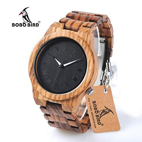 BOBO BIRD Mens Quartz Watch Wooden Waterproof Chronograph Wristwatches Timepieces with Wooden Watch Box