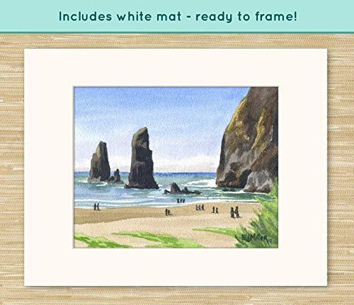 Haystack Rock Cannon Beach art print, Oregon watercolor painting, Oregon coast artwork, coastal ocean decor, Oregon beach wall ()
