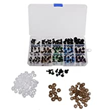 MonkeyJack 150 Pieces 6-12mm Colorful Safety Eyes with PLASTIC BACKS for Teddy Bear Soft Toy DIY Craft 10mm Mixed Color + 5 Sizes Black