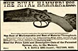 rival paper co - 1888 AD for Rival HAMMERLESS Shotguns by Davis & SONS Original Paper Ephemera Authentic Vintage Print Magazine Ad/Article