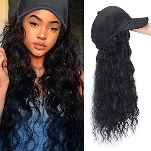 - Synthetic Long Wave Hair Extension with Hat Synthetic Hair With Attached Baseball Cap Wavy Hair Extensions for Women (Natural Black)