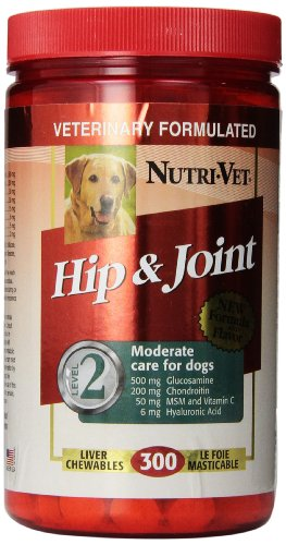 Nutri-Vet Hip and Joint Level 2 Chewable Tablet for Dogs, 300-Count