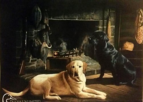 Waiting at Crow Creek House Flag Black Lab Yellow Lab Cabin 27″ x 37″
