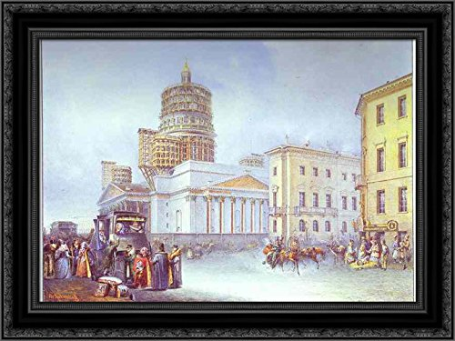 Departure of an Omnibus from St. Isaac's Square in St. Petersburg 24x18 Black Ornate Wood Framed Canvas Art by Vasily Sadovnikov (Petersburg Galleria St)