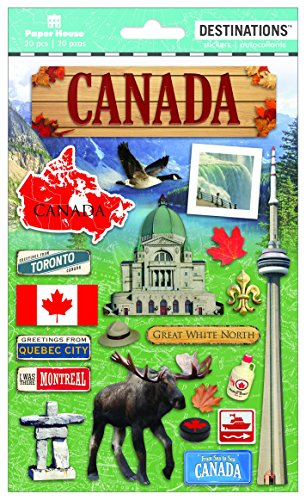 Paper House Productions Travel Canada 2D Stickers, - Canada Scrapbook Stickers