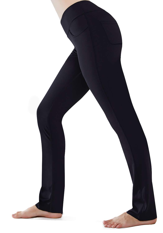 "6eb4bae708eab HISKYWIN 28""/30""/32""/34"" Inseam Mid-Waist Straight Leg Yoga Pants, 4  Pockets, Non-See-Through Workout Pants Black-L"