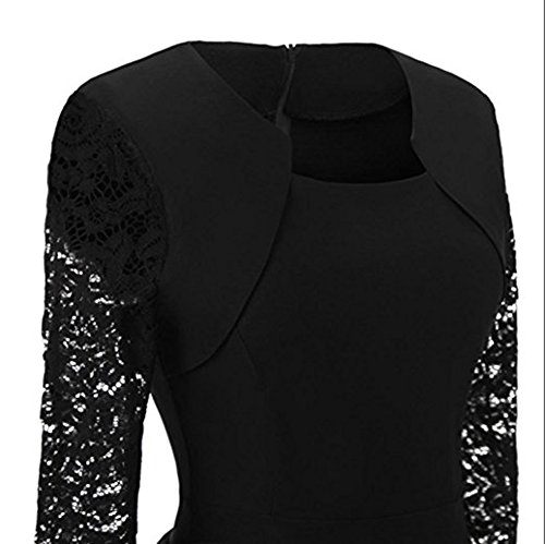 BeneGreat Women's Square Neck 3/4 Floral Lace Sleeve Work Cocktail Party Swing Dress with Pockets Black L