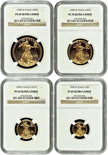 1998 1998 W Gold Set $50 25 10 5 American Eagle 4 Coin PR 69-70
