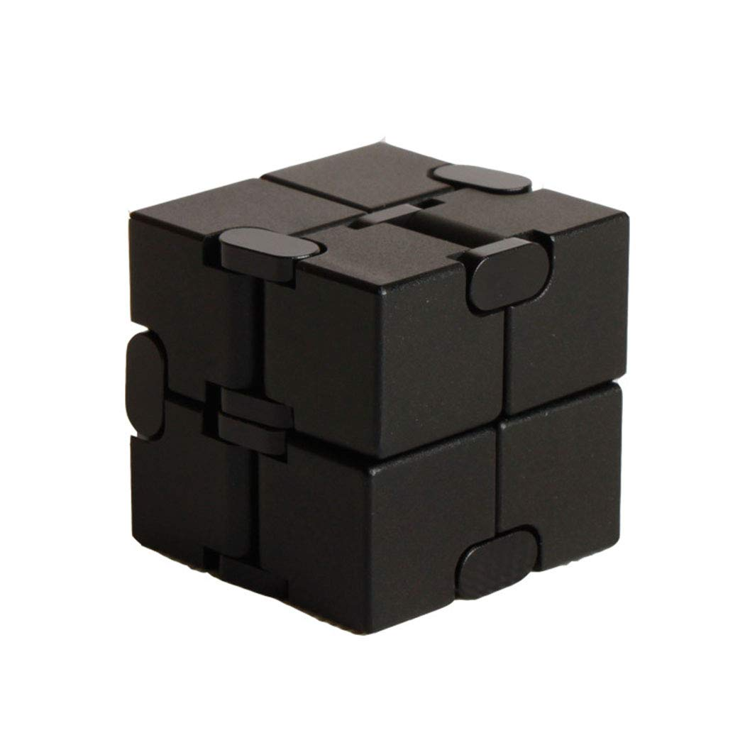 GUOJINYUN Decompression Toy Educational ToyInfinite Cube, Metal Cube Handheld Accessories Toy Desktop Decompression Toy Game Eliminates Stress and Anxiety for Children and Adults,Black