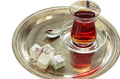 Topkapi - Juego de te turco de 18 piezas Ajda-Sultan, 6 vasos de te, 6 posavasos, 6 cucharillas de te, juego completo