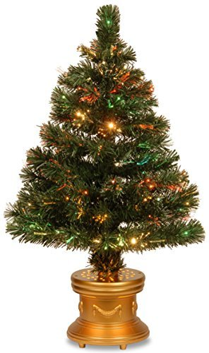 National Tree 32 Inch Fiber Optic Radiance Fireworks Tree with Gold Top Star in Gold Base (SZRX7-100L-32-1) ()
