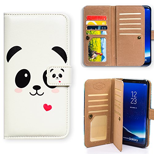 Galaxy S9 Plus Case,Bcov Panda Pink Heart Multifunction Wallet Leather Case Cover for Samsung Galaxy S9 Plus / +