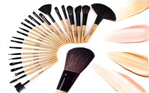 Vander Makeup Brush Set 24pcs Essential Cosmetics with Case Premium Pieces Professional Makeup Brushes, Powder Eyeliner Eye Shadow Lip Foundation Blush Brushes (wood)