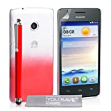 Yousave Accessories Huawei Ascend Y330 Case Red / Clear Raindrop Hard Cover With Stylus Pen