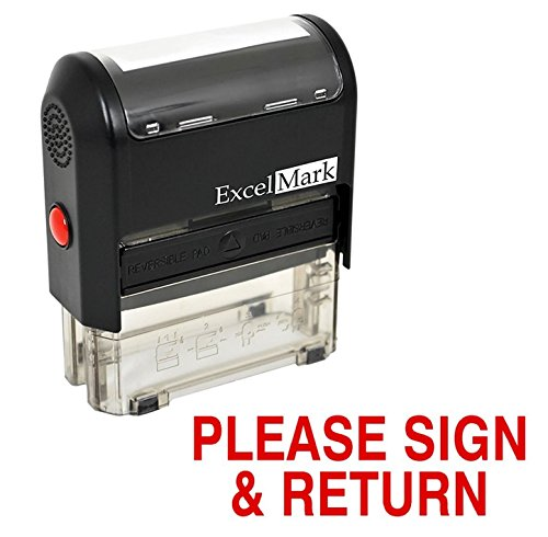 Please Sign and Return Self Inking Rubber Stamp - Red Ink ()